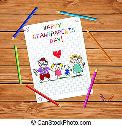nonni, giorno, bambini, colorito, mano, disegnato, vettore, illustrazione, di, grandparends, e, bambini