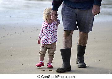 nonno, e, nipote, camminare, spiaggia