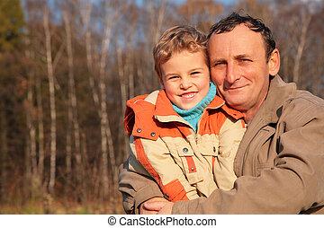 nonno, legno, nipote, facce