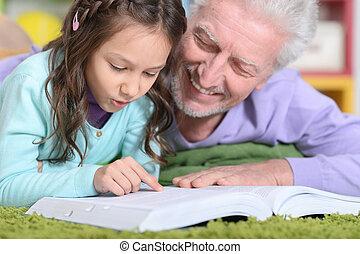 nonno, libro, lettura, grandaughter