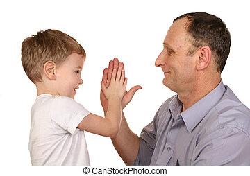 nonno, nipote, applauso, mano