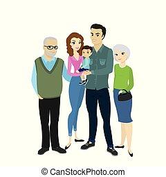 nonno, nonna, bello, famiglia, figlio, coppia felice