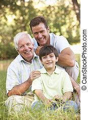 nonno, parco, nipote, figlio