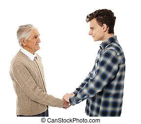 nonno, tremante, nipote, mani