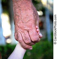 nonno, vecchio, nipote, mani