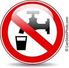 nonpotable, eau, avertissement, vecteur, signe