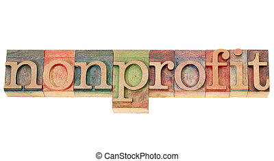nonprofit, 詞, 在, letterpress, 類型