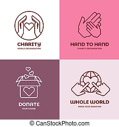 Nonprofit and volunteer organization, charity, philanthropy concept vector logo set