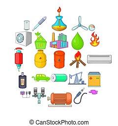 Nonrenewable energy icons set. Cartoon set of 25 nonrenewable energy icons for web isolated on white background