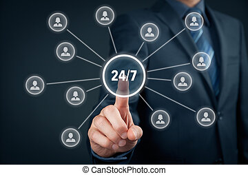 Nonstop (full time, 24/7, service) concept. Man click on 24/7 button linked with assistance employees (or customers).