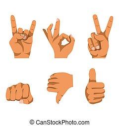 nonverbal, conjunto de mano, comunicación, blanco, el ...