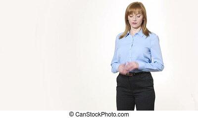 nonverbal, corps, girl, tordre, uncertainty., pantalon, ...