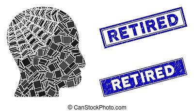 nood, gepensioneerd, postzegel, hoofd, mozaïek, conservator, rechthoek, zegels