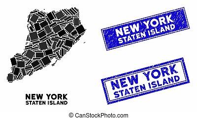 nood, watermarks, staten eiland, mozaïek, rechthoek, kaart