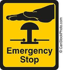 noodgeval, illustratie, vector, meldingsbord, stoppen, eps10