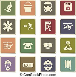 noodgeval, pictogram, set