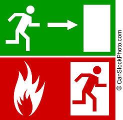 noodgeval, vuur, tekens & borden