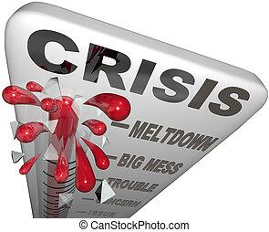 noodgeval, warboel, onrust, woorden, thermometer, meltdown, crisis