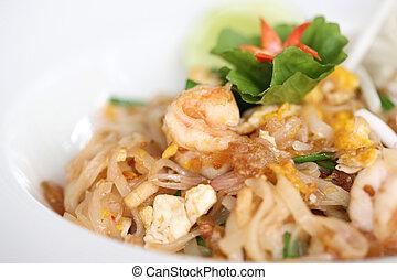 noodle, alimento, camarão, tailandês, fritado, padthai