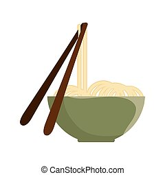 noodle bowl with chinese sticks