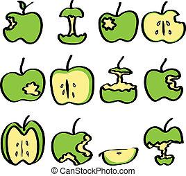 green bitten apple