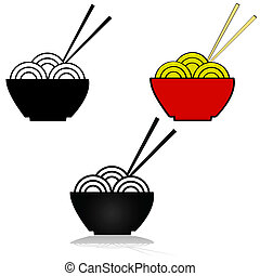 Noodle icon - Illustration set showing three variations of...