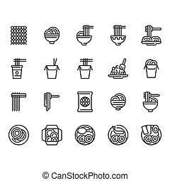 Noodle icon set. Vector illustration