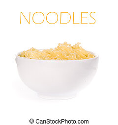 noodle in a bowl on white background