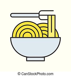 Noodle in bowl, Food set, filled outline icon
