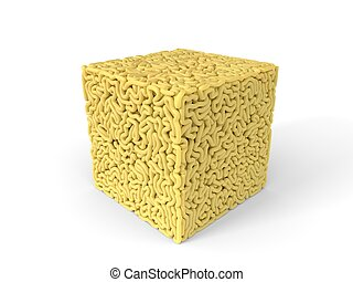 noodle in shape of cube. curly spaghetti for cooking. 3d illustration