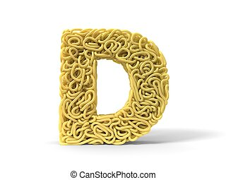 noodle in shape of D letter. curly spaghetti for cooking. 3d illustration
