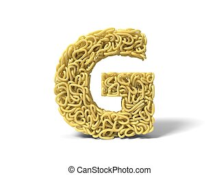 noodle in shape of G letter. curly spaghetti for cooking. 3d illustration