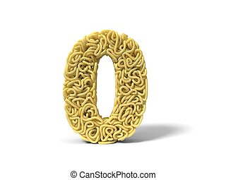 noodle in shape of number 0. curly spaghetti for cooking. 3d illustration