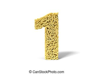 noodle in shape of number 1. curly spaghetti for cooking. 3d illustration