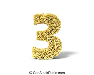 noodle in shape of number 3. curly spaghetti for cooking. 3d illustration
