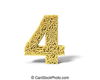 noodle in shape of number 4. curly spaghetti for cooking. 3d illustration
