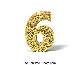 noodle in shape of number 6. curly spaghetti for cooking. 3d illustration