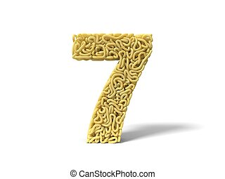 noodle in shape of number 7. curly spaghetti for cooking. 3d illustration