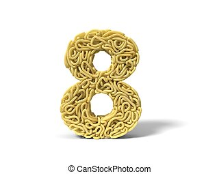 noodle in shape of number 8. curly spaghetti for cooking. 3d illustration