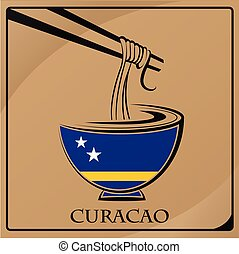 noodle logo made from the flag of Curacao