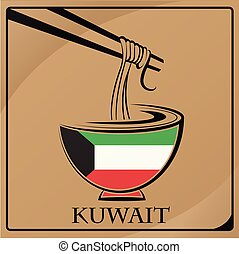 noodle logo made from the flag of Kuwait