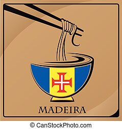 noodle logo made from the flag of Madeira