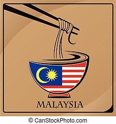 noodle logo made from the flag of Malaysia