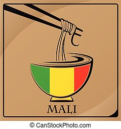 noodle logo made from the flag of Mali