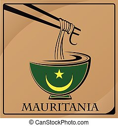 noodle logo made from the flag of Mauritania