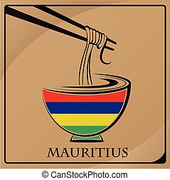 noodle logo made from the flag of Mauritius
