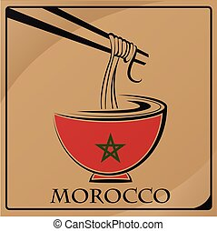 noodle logo made from the flag of Morocco