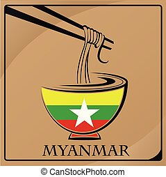 noodle logo made from the flag of Myanmar