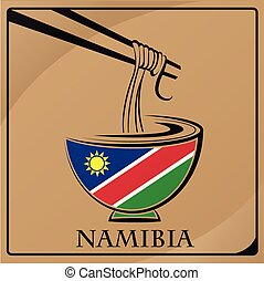 noodle logo made from the flag of Namibia