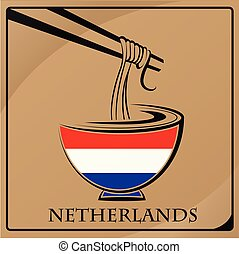 noodle logo made from the flag of Netherlands